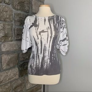 Forever 21 White & Grey Balloon Sleeve Top, S